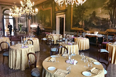 A reception room at Ca' Sagredo Hotel in Venice, Italy