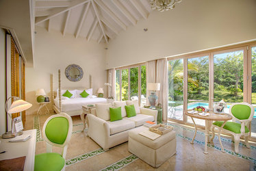 The Luxury Pool Junior Suite living area at Eden Roc at Cap Cana