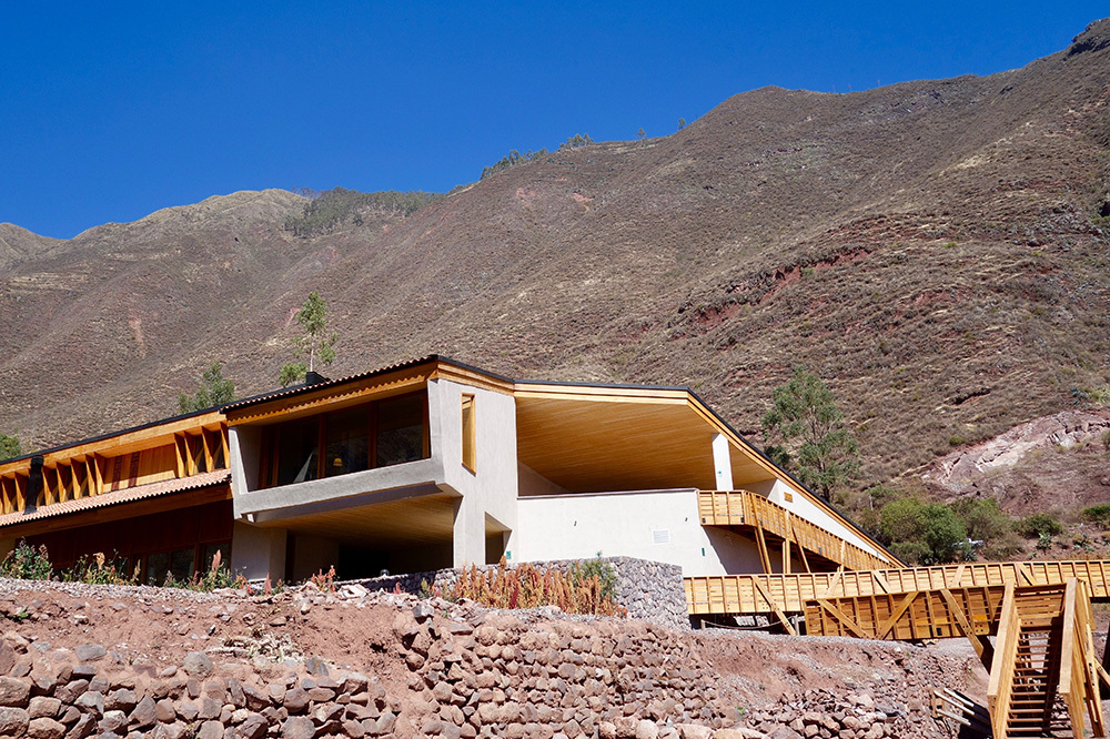 The exterior of explora Valle Sagrado in the Sacred Valley, Peru