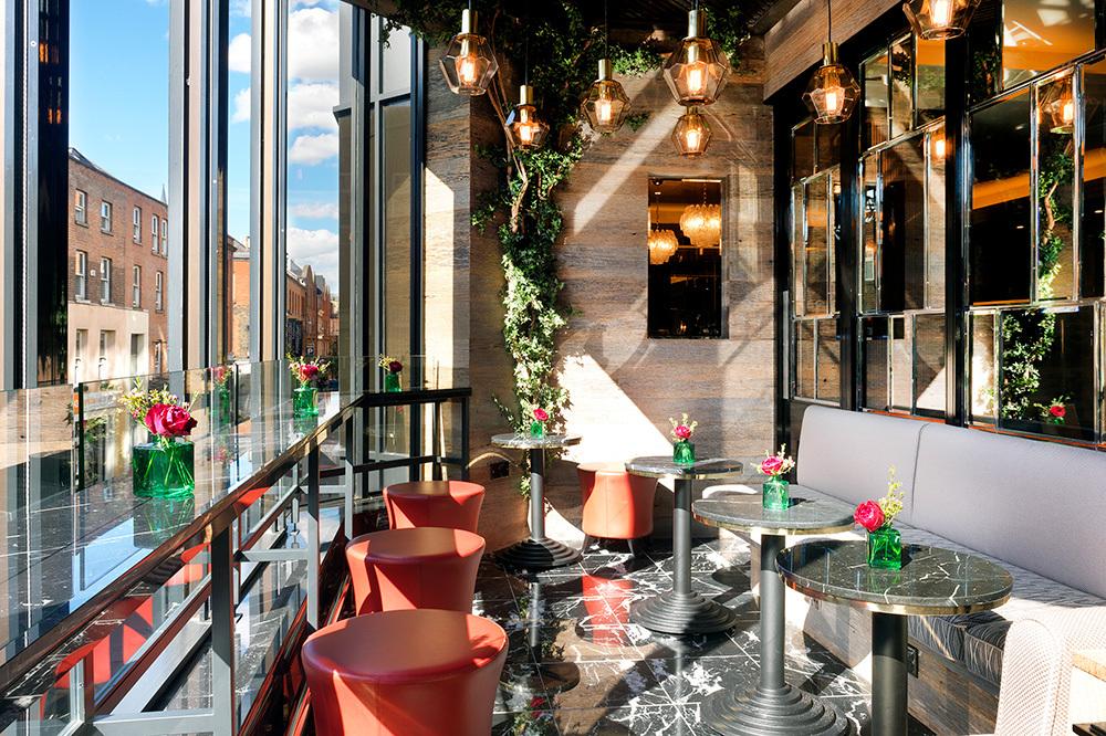 The terrace of Sidecar bar at The Westbury in Dublin, Ireland