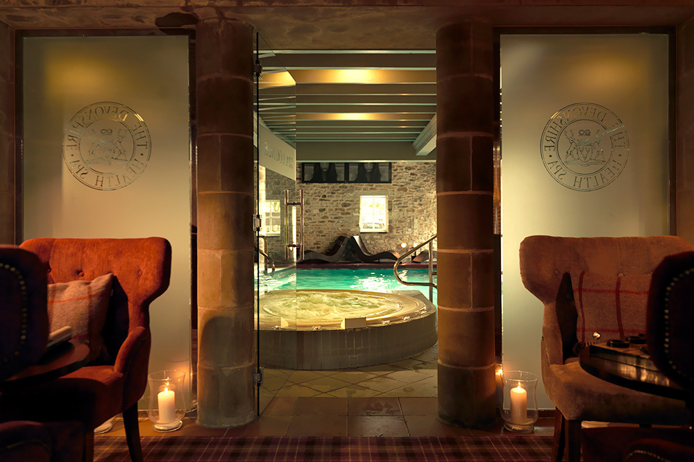 The pool of the spa at The Devonshire Arms Hotel & Spa on the Bolton Abbey estate in North Yorkshire, England
