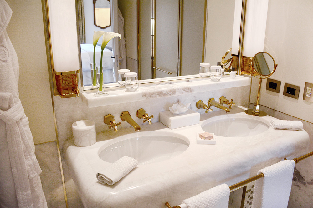 The bath of a suite at Hotel Eden in Rome, Italy