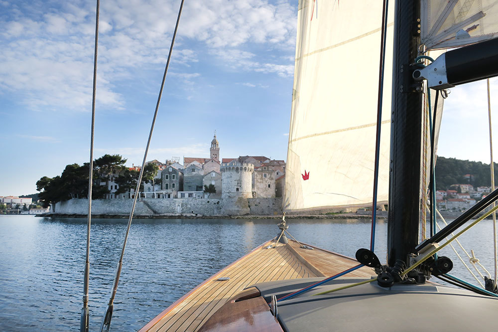 View of Korčula from the sailboat of Lešić Dimitri Palace in Croatia