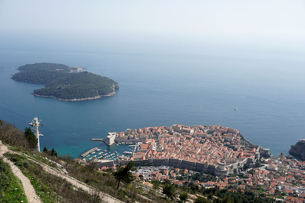 The view of Dubrovnik's old center from the top of Mount Srđ in Dubrovnik, Croatia