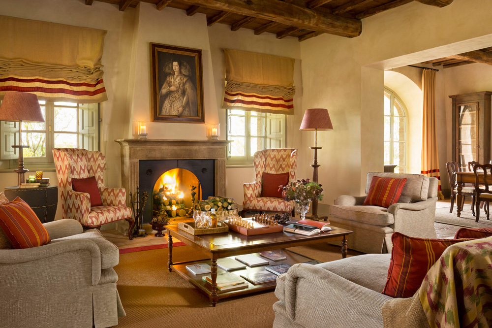 The Villia Biondi Fireplace at Rosewood Castiglion Del Bosco in Tuscany, Italy