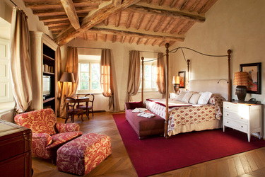 The Villia Biondi Master Bedroom at Rosewood Castiglion Del Bosco in Tuscany, Italy