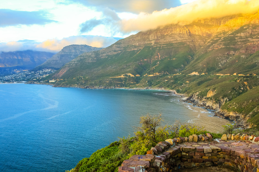 Aerial view of scenic Chapman's Peak Drive, considered one of the most beautiful roads in the world.