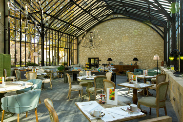 The Winter Garden, which acts as the breakfast room for guests, at Domaine de Manville in Le Baux-de-Provence, France