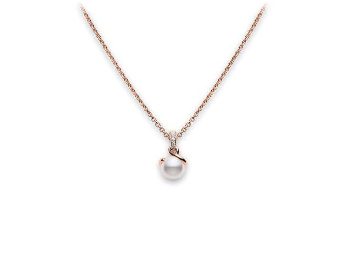 Mikimoto Twist Collection akoya pearl and round brilliant cut diamond pendant in 18k rose gold.