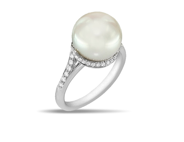 Mikimoto Twist Collection white South Sea pearl and round brilliant cut diamond ring in 18k white gold.