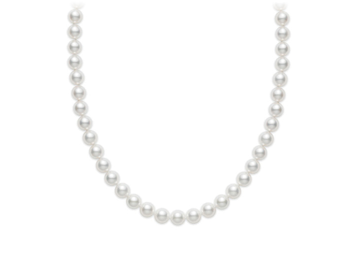Mikimoto akoya pearl necklace in 18k yellow gold.