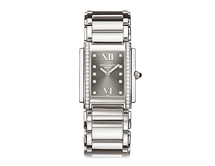 Patek Philippe Twenty~4� ladies stainless steel diamond case bracelet watch featuring an Eternal Gray diamond dial.  (4910/10A-010)