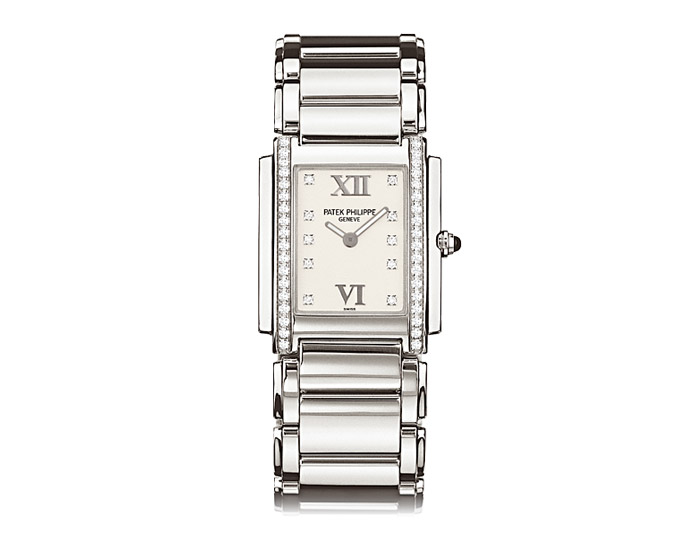 Patek Philippe Twenty~4® ladies stainless steel diamond case bracelet watch featuring a Timeless White diamond dial. (4910/10A-011)