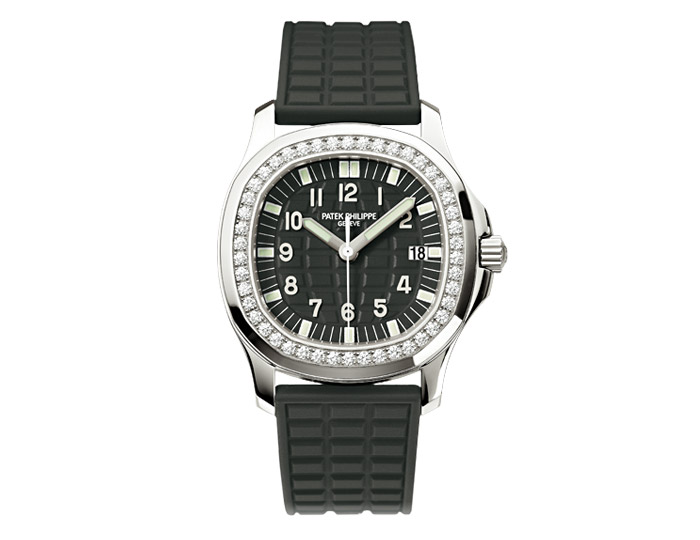Patek Philippe Aquanaut ladies stainless steel composite strap watch featuring sweep second hand with a black embossed dial.  (5067A-001)