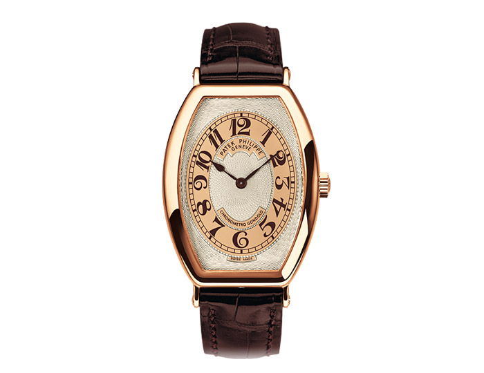 Patek Philippe Gondolo mens 18k rose gold mechanical manually wound strap watch featuring a Hand-guilloched gold dial.  (5098-001)