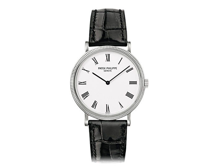 Patek Philippe Calatrava men's 18k white gold mechanical self-winding strap watch featuring a white lacquered dial.  (5120G-001)