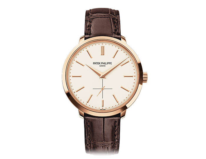 Patek Philippe Calatrava mens 18k rose gold mechanical manually wound strap watch featuring a silvery opaline dial.  (5123R-001)