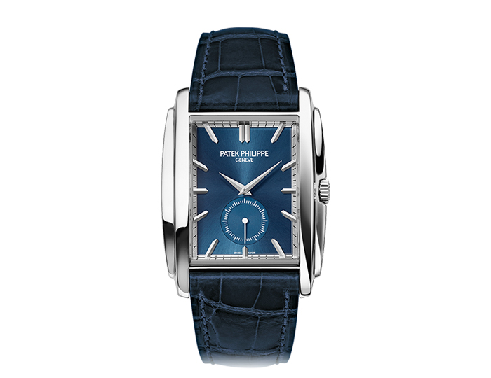 Patek Philippe Gondolo men's 18k white gold mechanical manually wound strap watch featuring a blue sunburst dial. (5124G-011)