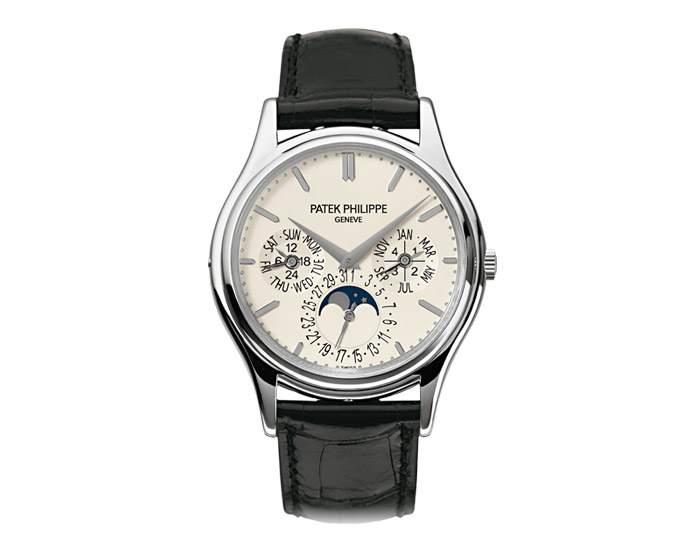 Patek Philippe perpetual calendar mens 18k white gold mechanical self-winding strap watch featuring day, date, month, leap year by hands, moon phases and 24-hour indicator with a white opaline dial.  (5140G-001)