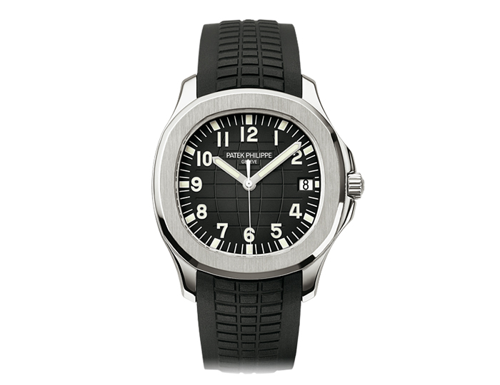 Patek Philippe Aquanaut men's stainless steel mechanical self-winding composite strap watch featuring sweep second hand with a black embossed dial. (5167A-001)