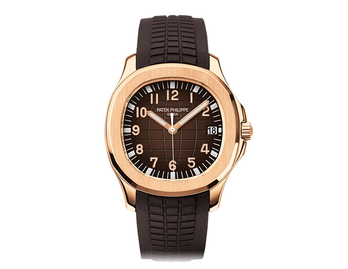 Patek Philippe Aquanaut mens 18k rose gold mechanical self-winding composite strap watch featuring sweep second hand with a chocolate brown embossed dial.  (5167R-001)