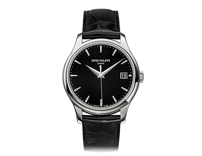 Patek Philippe Calatrava men's 18k white gold mechanical self-winding strap watch featuring date in an aperture with a black lacquered dial. (5227G-010)