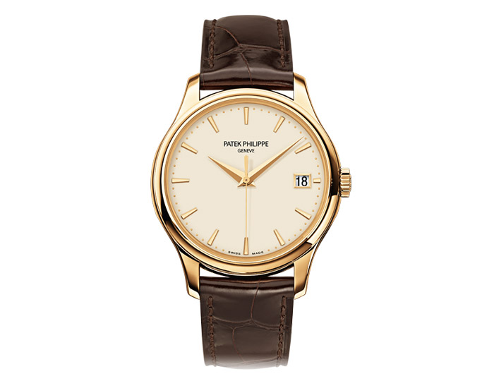 Patek Philippe Calatrava men's 18k yellow gold mechanical self-winding strap watch featuring date in an aperture with an ivory lacquered dial.  (5227J-001)