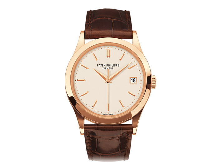 Patek Philippe Calatrava men's 18k rose gold mechanical self-winding strap watch featuring date in an aperture with a white opaline dial.  (5296R-010)