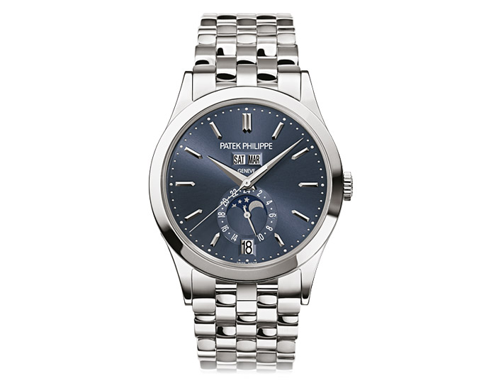 Patek Philippe annual calendar mens 18k white gold mechanical self-winding bracelet watch featuring day, date and month in apertures, moon phases and 24-hour indication with a blue sunburst dial. (5396/1G-001)