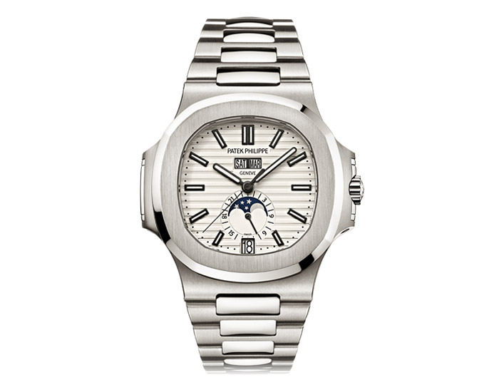 Patek Philippe Nautilus annual calendar men's stainless steel mechanical self-winding bracelet watch featuring day, date and month in apertures, moon phases and 24-hour indication with a silvery white dial.  (5726/1A-010)