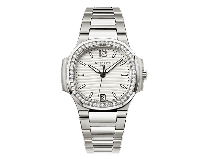 Patek Philippe Nautilus ladies stainless steel mechanical self-winding diamond case bracelet watch featuring date in an aperture with a silvery white dial.  (7018/1A-001)