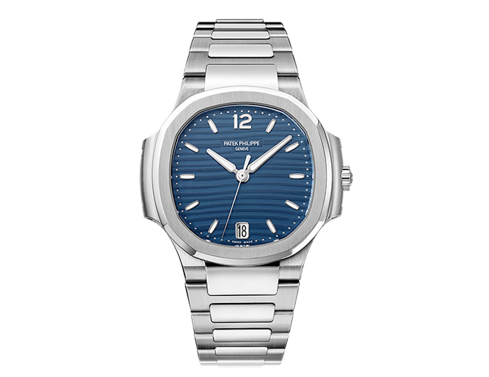 Patek Philippe Nautilus ladies stainless steel mechanical self-winding bracelet watch featuring date in aperture with a blue opaline dial. (7118/1A-001)