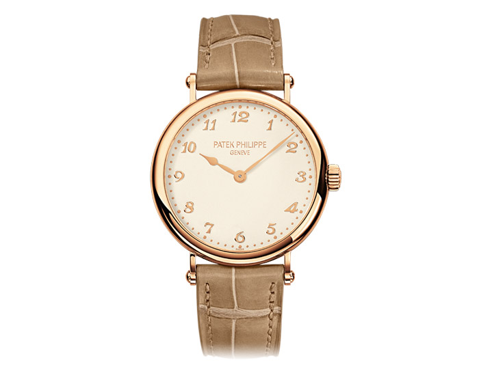 Patek Philippe Calatrava ladies 18k rose gold mechanical self-winding strap watch featuring a grained cream dial.  (7200R-001)
