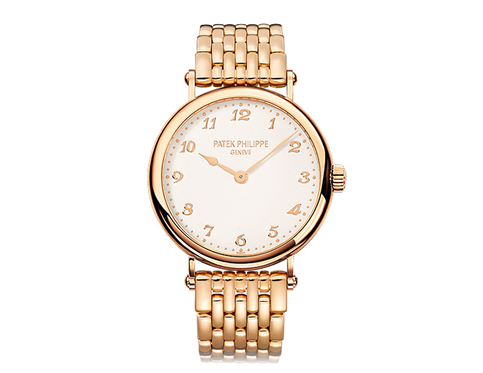 Patek Philippe Calatrava ladies 18k rose gold mechanical self-winding bracelet watch featuring a grained silvery-white dial. (7200/1R-001)