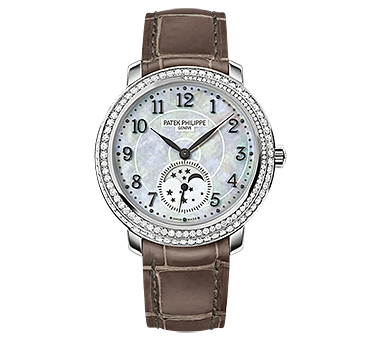 Patek Philippe ladies Diamond Ribbon Joaillerie, Moon phases spiral engraved mother of pearl 33.3 mm dial, manual movement 18 karat white gold timepiece on alligator strap with with square hand stitched square scales.