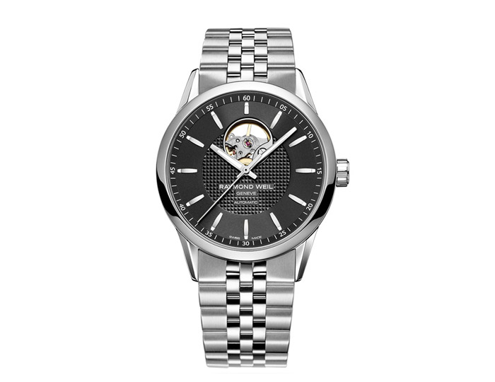 Raymond Weil Freelancer men's automatic stainless steel 42mm bracelet watch featuring visible movement & black dial. (2710-ST-20021)