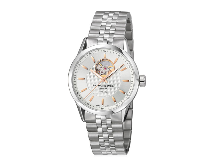Raymond Weil Freelancer men's automatic stainless steel 42mm bracelet watch featuring visible movement & silver dial. (2710-ST5-65021)