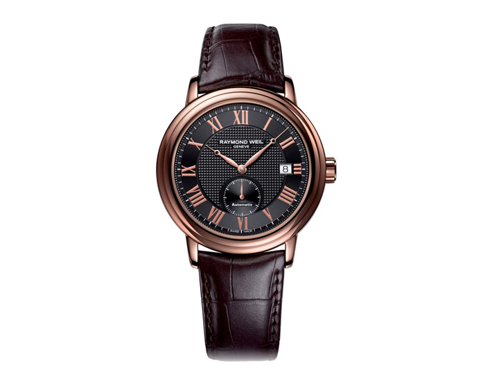 Raymond Weil Maestro men's automatic stainless steel with rose gold coating 39.5mm leather strap watch featuring a black dial. (2838-PC5-00209)