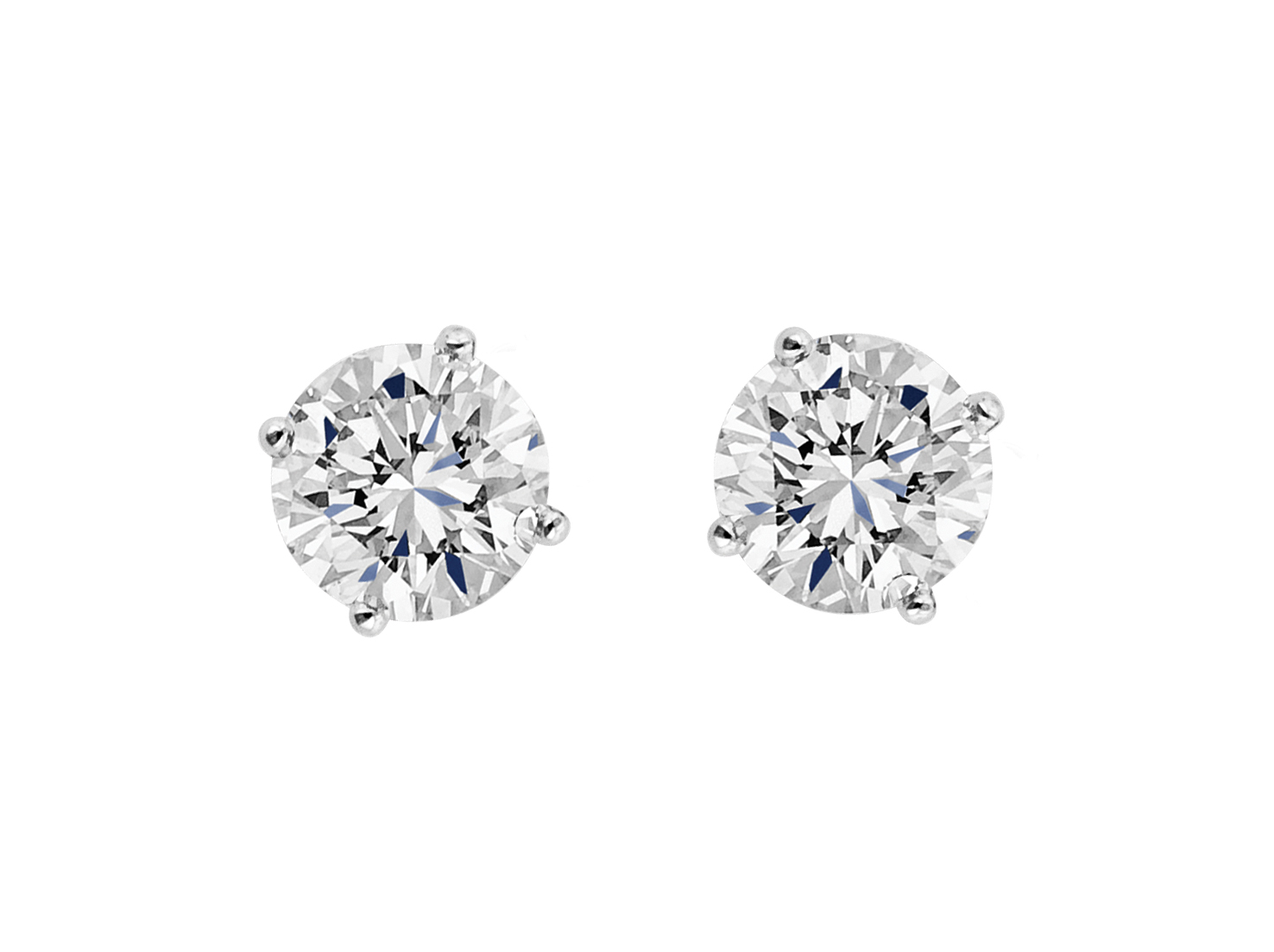 Round brilliant cut diamond stud earrings in platinum.                                                              Available at $395 and up.