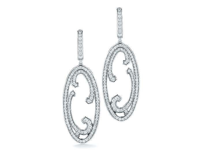 Ivanka Trump Athénée Collection diamond earrings in 18k white gold.