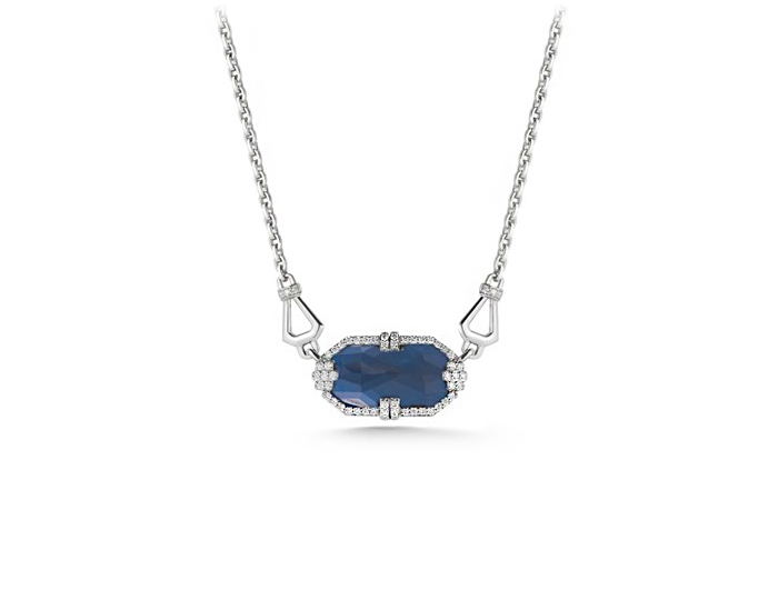 Ivanka Trump Patras Collection blue sapphire and diamond pendant in 18k white gold.