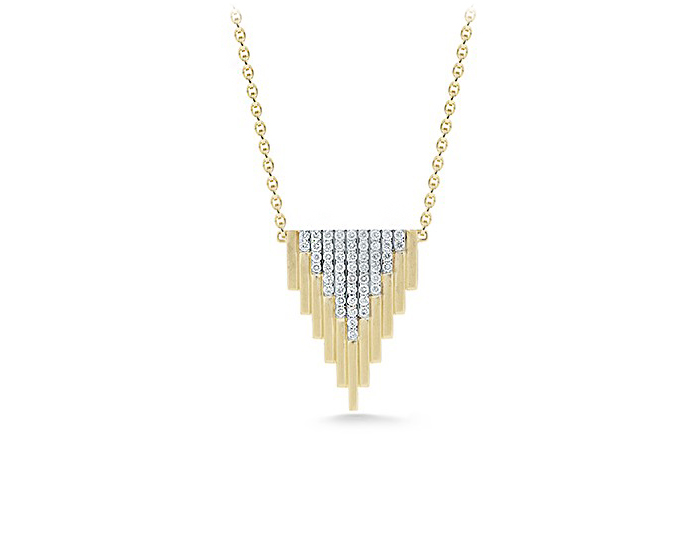 Empire Collection large diamond pendant in 18k yellow and white gold.