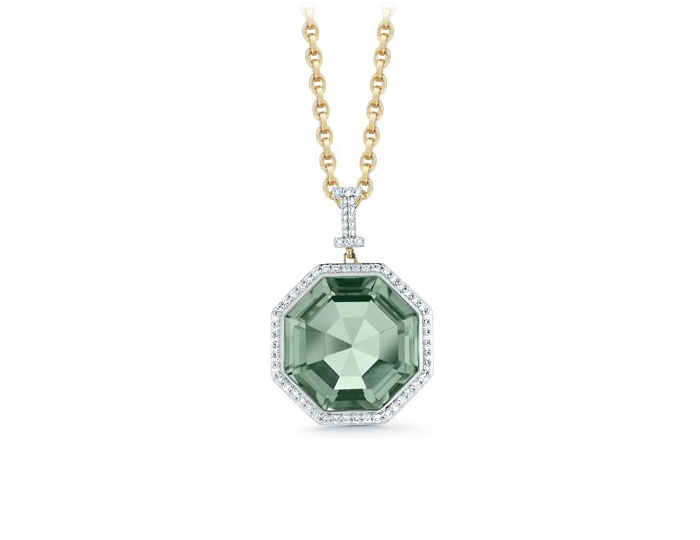 Ivanka Trump Empire Collection prasiolite and diamond pendant in 18k yellow gold.