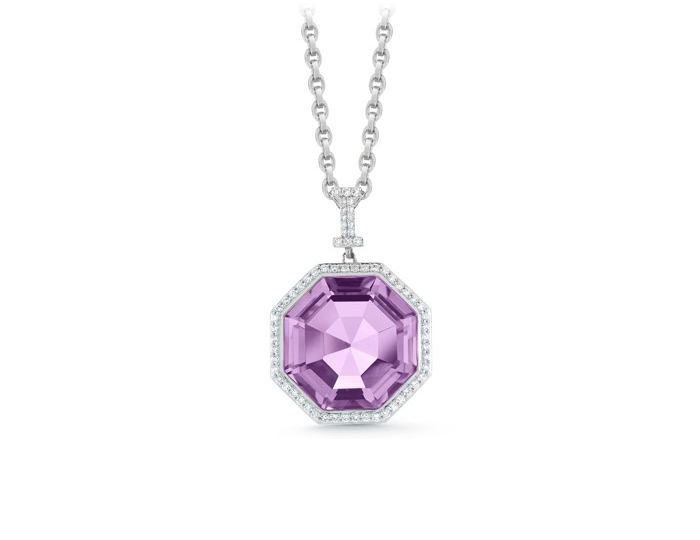 Ivanka Trump Empire Collection amethyst and diamond pendant in 18k white gold.