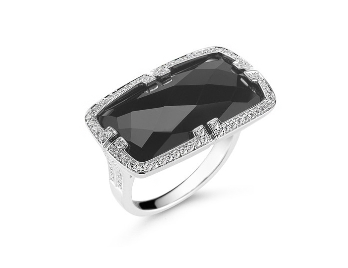 Ivanka Trump Patras Collection black onyx and diamond ring in 18k white gold.