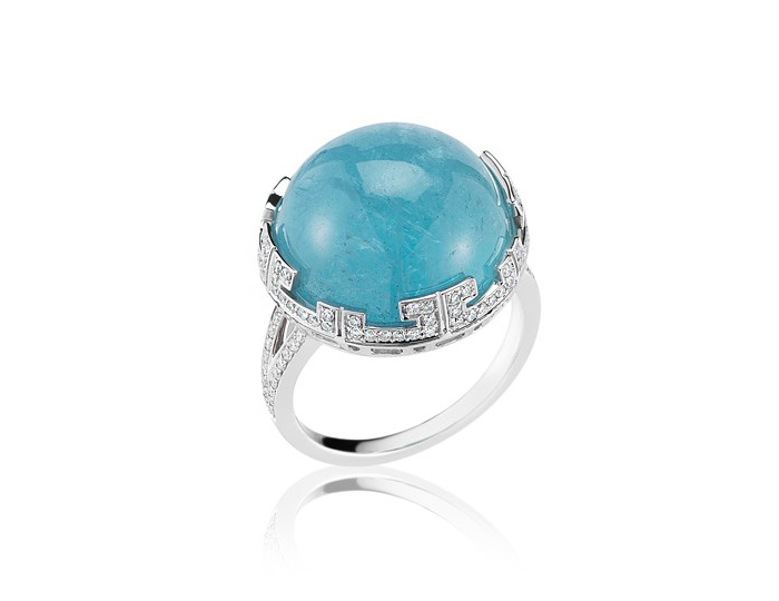 Ivanka Trump Patras Collection aquamarine and diamond ring in 18k white gold.