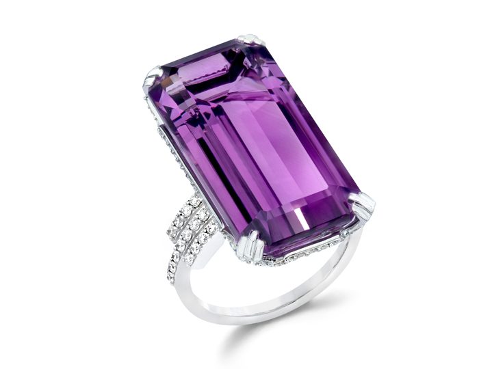 Ivanka Trump Empire Collection amethyst and diamond cocktail ring in 18k white gold.