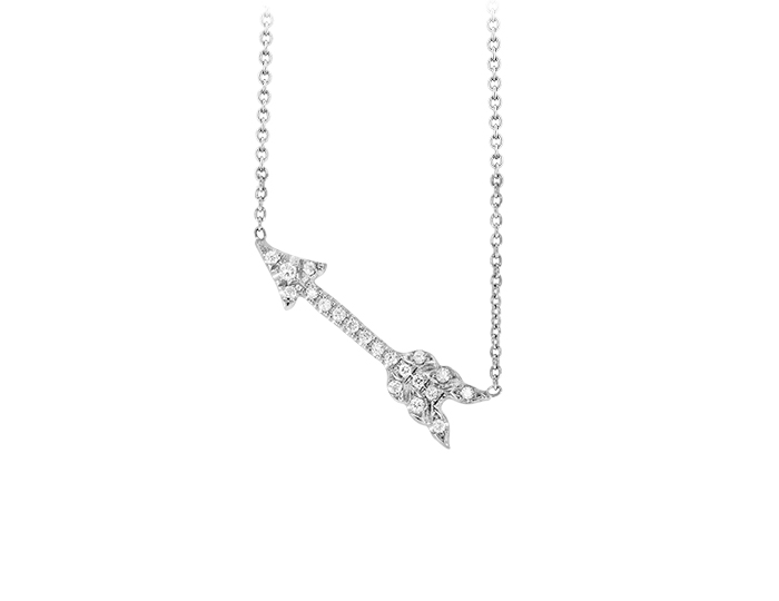 Roberto Coin Tiny Treasure Collection round brilliant cut diamond arrow pendant in 18k white gold.