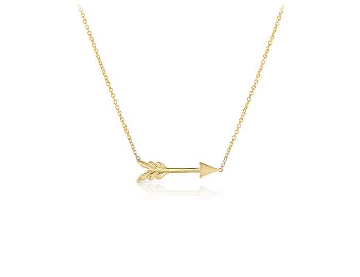 Roberto Coin Tiny Treasures Collection Arrow necklace in 18k yellow gold.