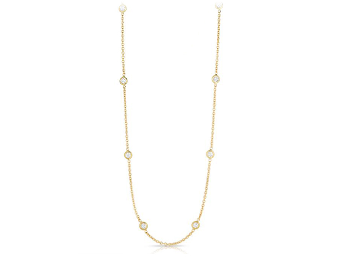 Roberto Coin Diamonds by the Inch Collection diamond bezel necklace in 18k yellow gold.